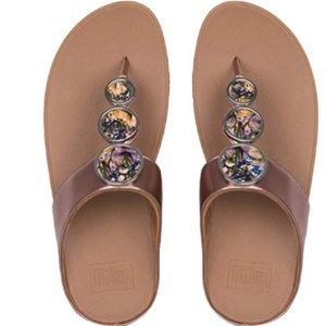 New Fitflop Flower crush Rose Gold Sandals 9